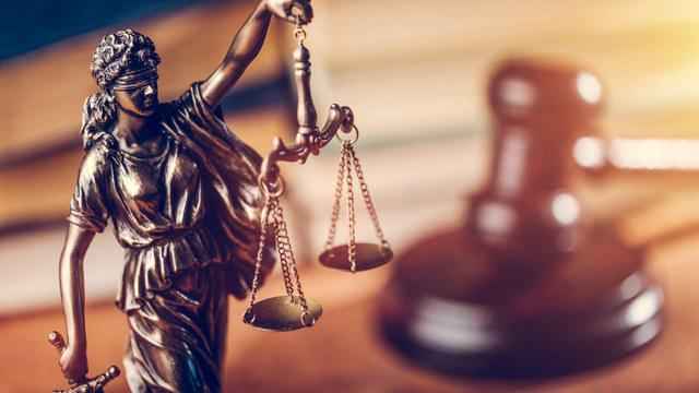 Legal scales and gavel
