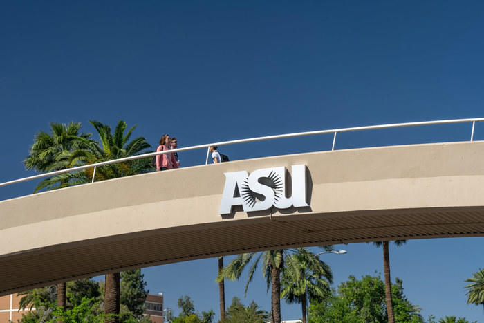 Students on bridge at Arizona State University
