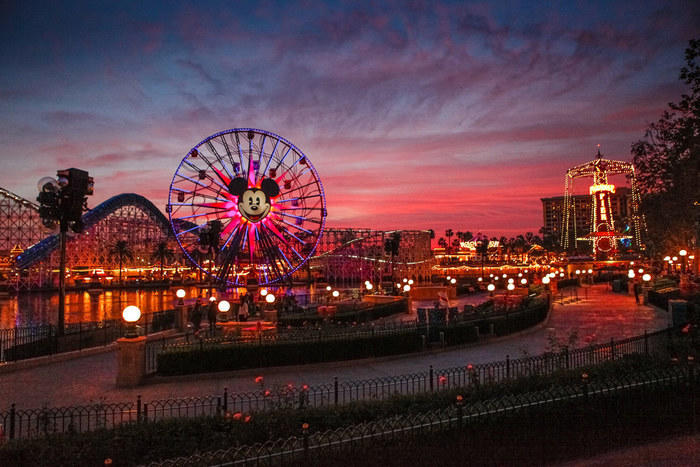 Anaheim Disneyland in the evening