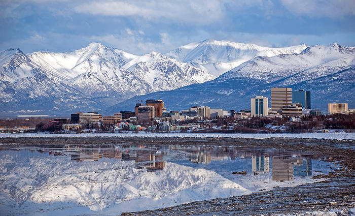 View of Anchorage over the water