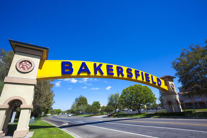 Bakersfield sign over roadway