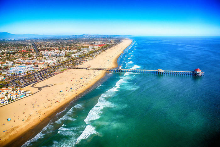 Aerial view of Huntington Beach Pier