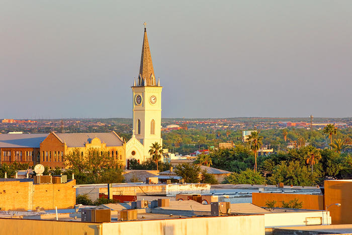 Laredo Texas skyline with cathedral spire