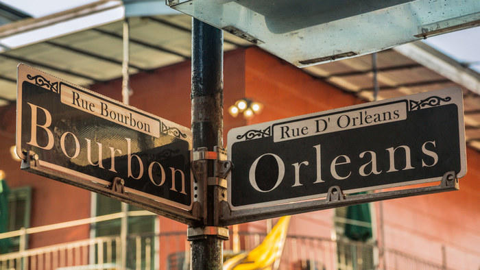 Street sign in New Orleans, Bourbon & Orleans