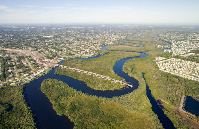 Overhead view of Port St Lucie River