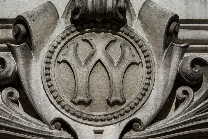 Carved 'W' on University of Wisconsin campus building