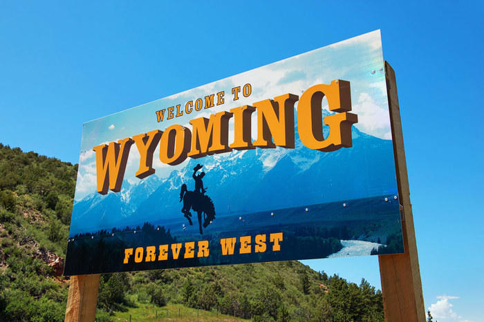 Welcome to Wyoming highway sign