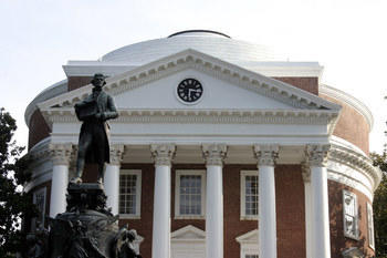 Rotunda at the University of Virginia with statue of Thomas Jefferson